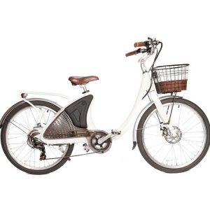 Phantom Swirl electric bike in white with a front basket