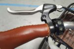 Leather hand grips and push start on Phantom Swirl electric bike