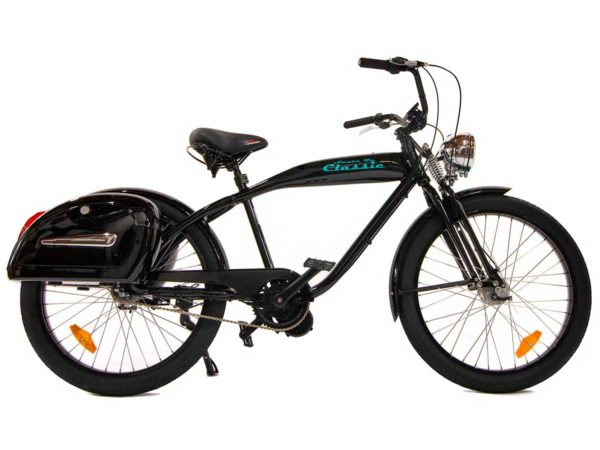 Santa Fe Classic electric bike in black with blue accent colors